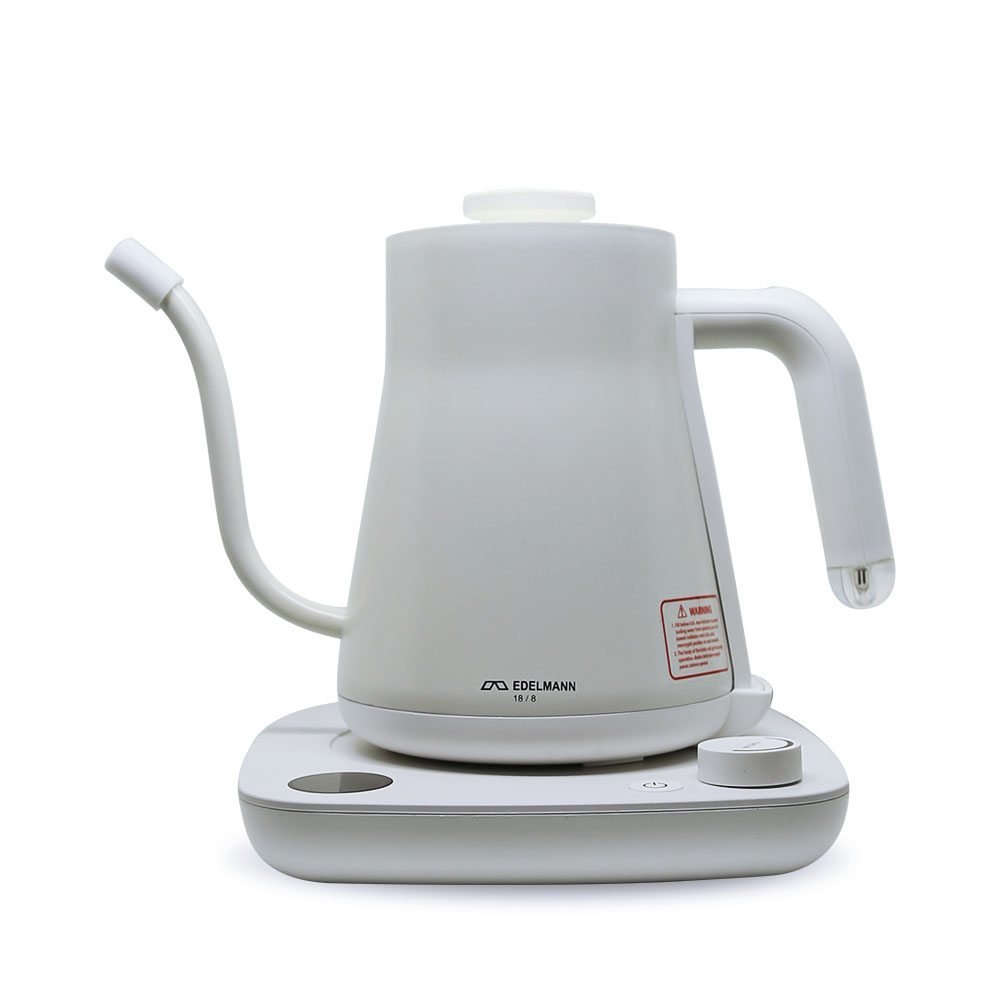 EDELMANN ELECTRIC GOOSENECK KETTLE (AUTO – TEMP) 600ML WHITE