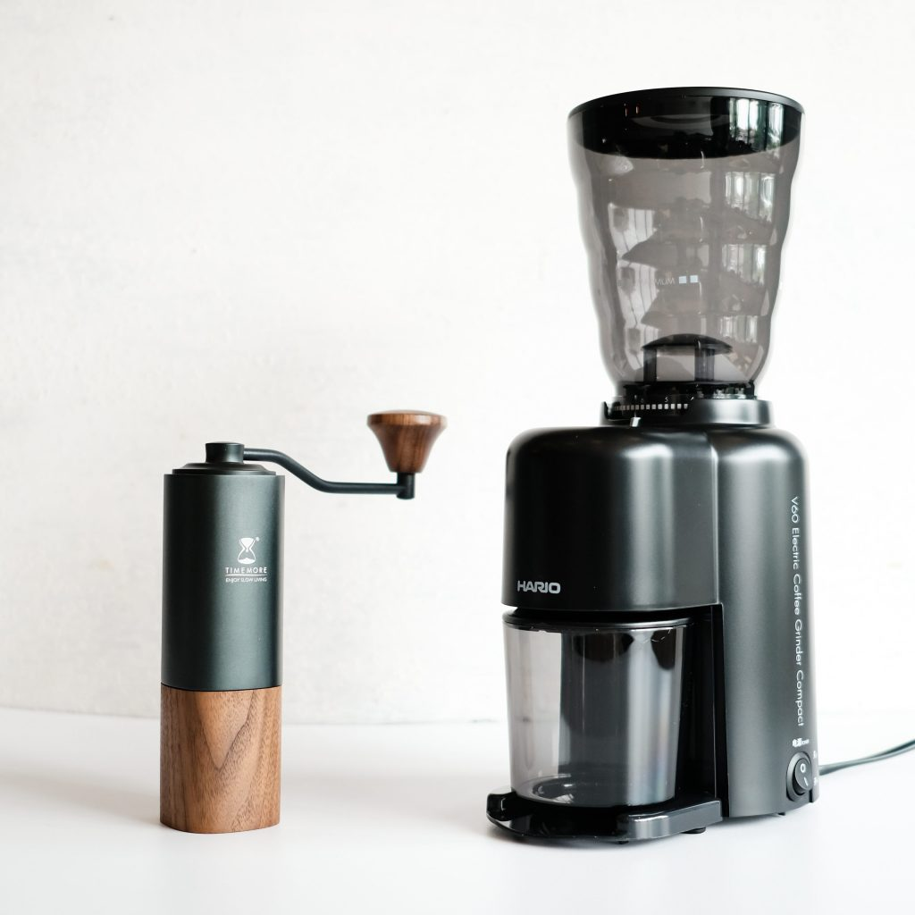 Timemore Chestnut G1 hand grinder with Hario electric coffee grinder compact evc-8b