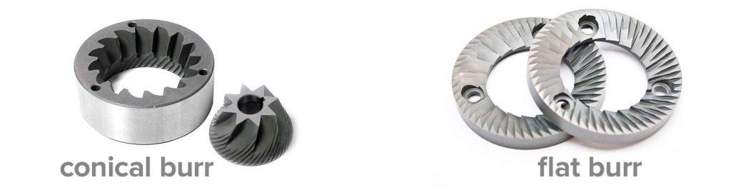 Contoh burr pada grinder yaitu conical burr dan flat burr